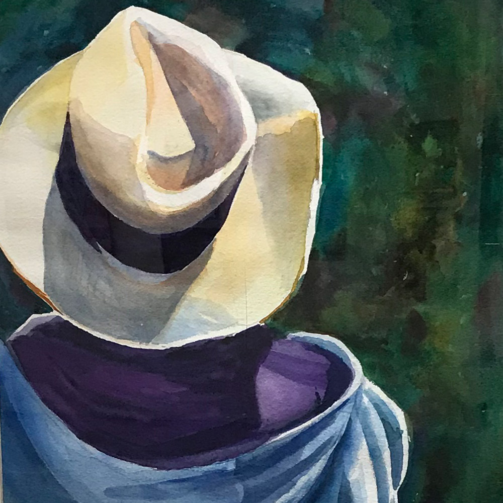 My thinking Hat by Clare Smith, Watercolor, $500
