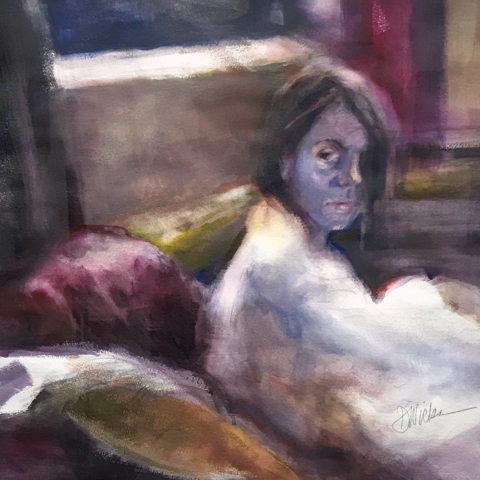Waiting by Deborah Wicks, Watercolor, $1600