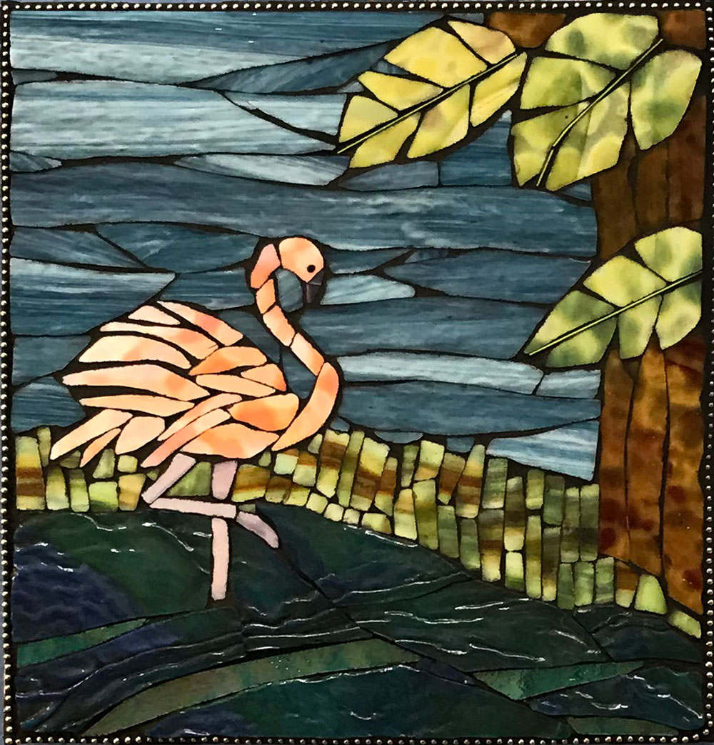 Flamingo by Lisa Markowski, Mosaic, $175