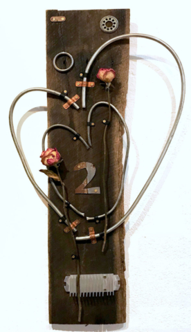 Hearts In Rythm by Jim Crawford, Assemblage, $250