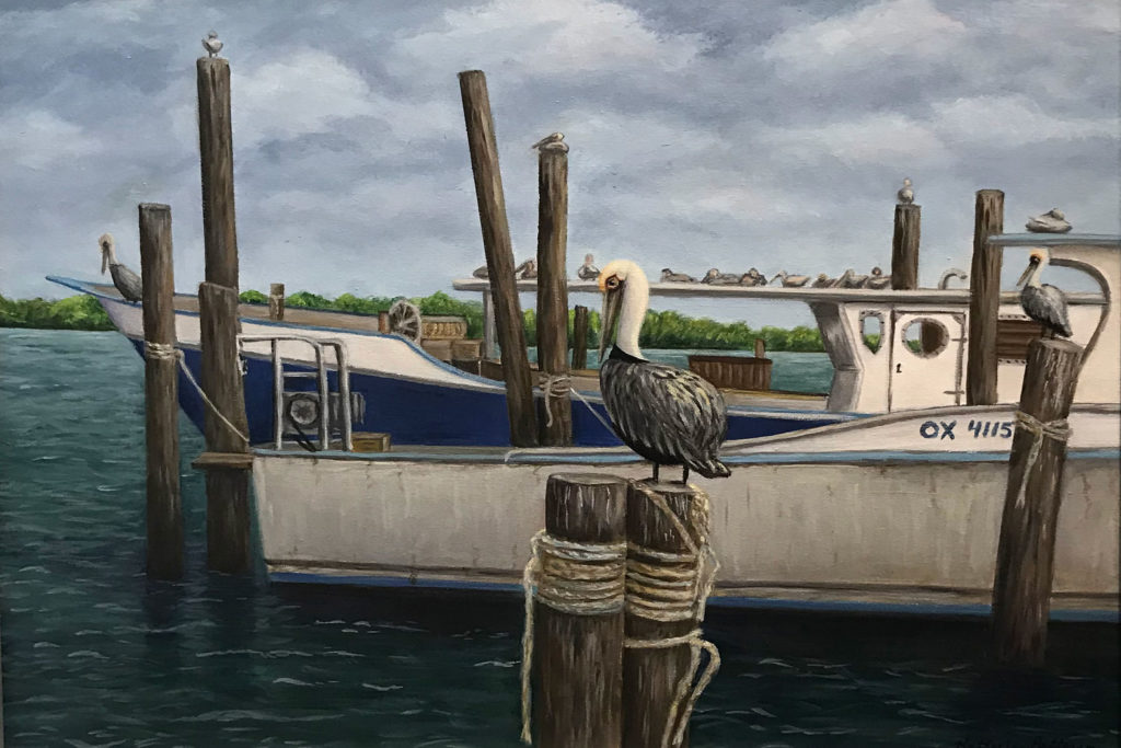 Pelicans On Work Boats by Kathy Lee Patterson, Acrylic, $235