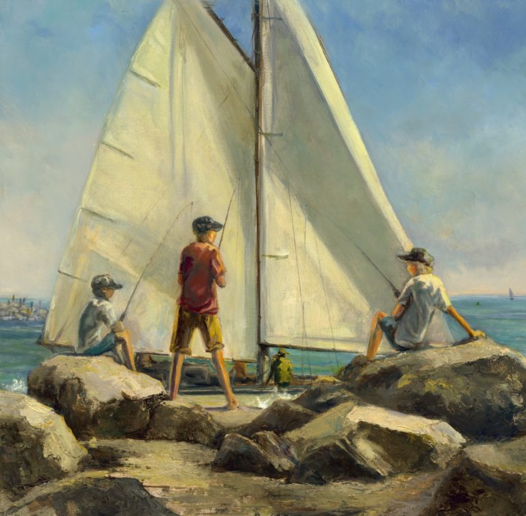 Fishing On the Jetty by LuAnn Widergren