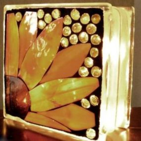 Mosaic Lighted Glass Block, Liana Martin