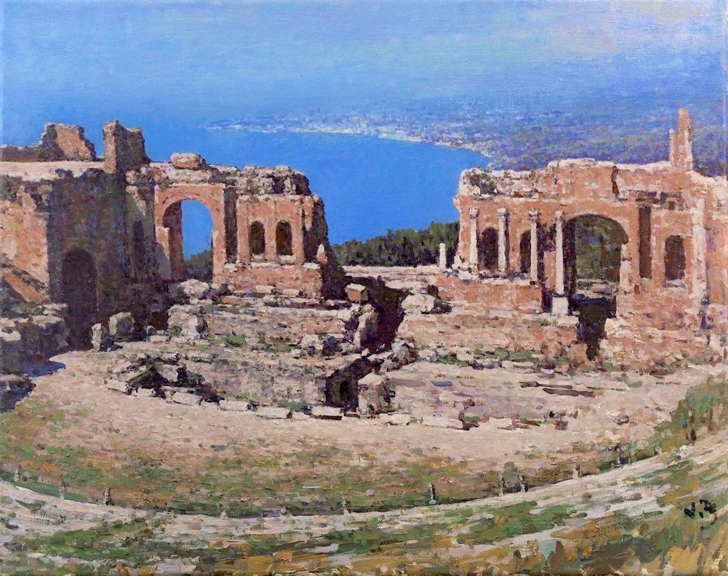 Blue Skies of Taormina by Nikolo Balkanski OPAM, 16x20 $3,500