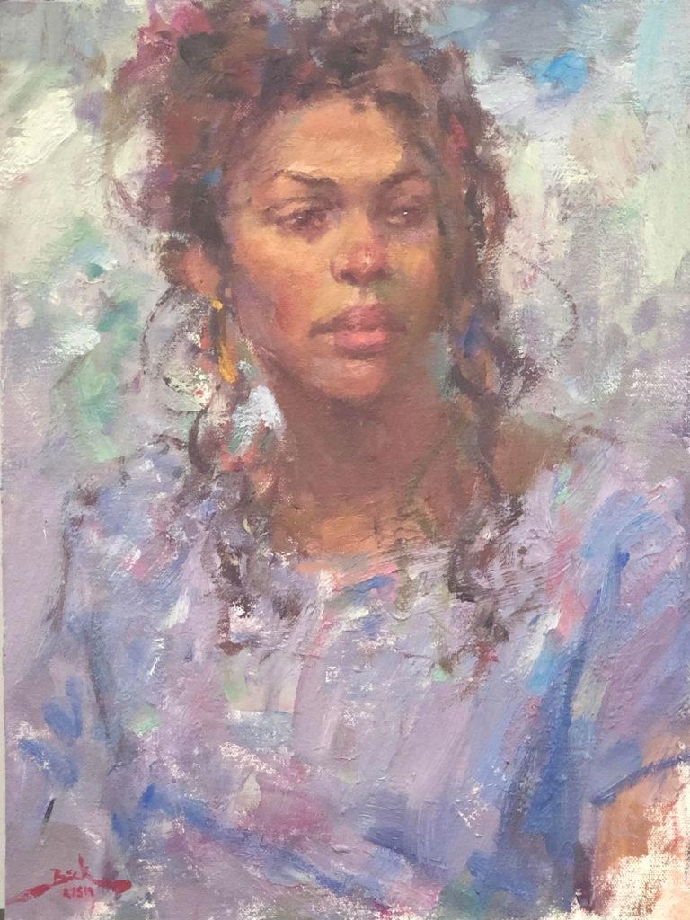 Lori in Blue by Dan Beck OPA, 16×12, $2,200