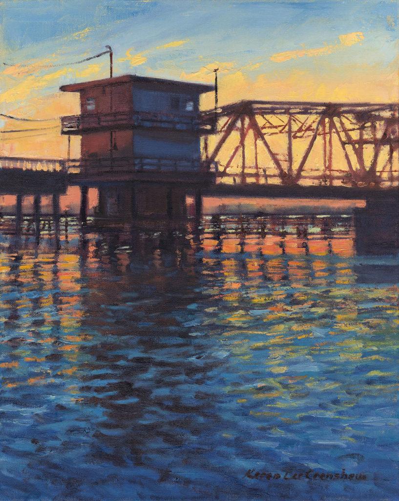 Swing Bridge Tender House Sunset by Karen L Crenshaw, 20×16, $900