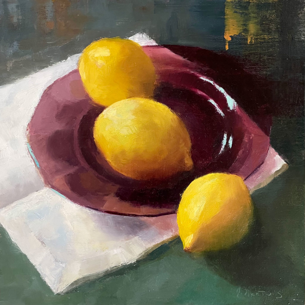 Plated Lemons by Judith Nentwig, 10×10, $500
