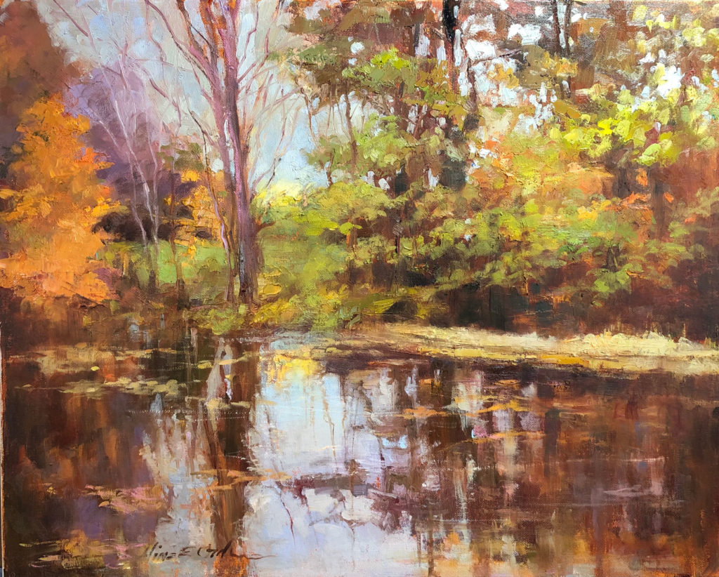 Wooded Pond by Aline E Ordman OPA, 16×20, $1,800