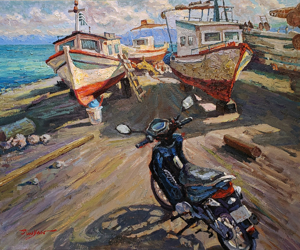 Fishing Boats Maintenance by Yan Sun OPA, 20×24, $4,500